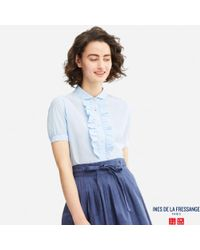 Uniqlo - White Women Idlf Cotton Lawn Short-sleeve Shirt - Lyst