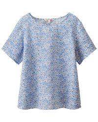 Uniqlo - Blue Women Premium Linen Short Sleeve T Blouse - Lyst