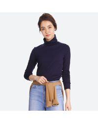 Uniqlo - Blue Women Supima Cotton Long-sleeve Turtleneck - Lyst