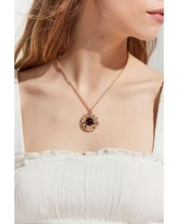 Urban Outfitters - Metallic Stone Roses Statement Pendant Necklace - Lyst