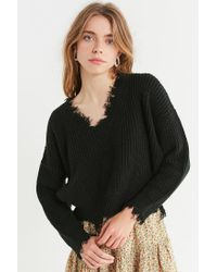 Urban Outfitters - Black Uo Deconstructed V-neck Sweater - Lyst
