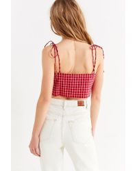 Urban Outfitters - Red Uo Square-neck Tie –strap Cami - Lyst