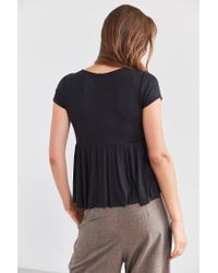 Urban Outfitters - Black Uo Clementine Plunging Babydoll Top - Lyst