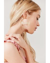 Urban Outfitters - Metallic Honey Etched Statement Hoop Earring - Lyst