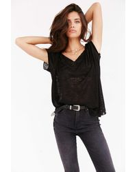 Project Social T | Black Textured-knit V-neck Tee | Lyst