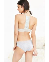 Out From Under - Gray Fara Lace-trim Hipster - Lyst