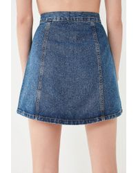 BDG - Blue Denim Button-front Skirt - Lyst
