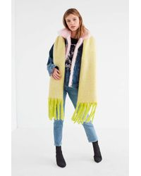 Urban Outfitters - Green Nubby Contrast Fringe Woven Scarf - Lyst