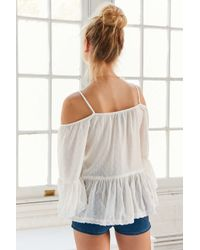 Angie - White Summer Nights Cold Shoulder Blouse - Lyst