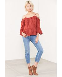 Angie - Black Summer Nights Cold Shoulder Blouse - Lyst