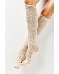 Urban Outfitters | Blue Crochet Cuff Knee-high Sock | Lyst