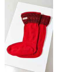 HUNTER | Red Cable Knit Boot Sock | Lyst
