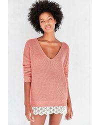 67edce5c19 Lyst - Kimchi Blue Hazel Lace-trim V-neck Sweater in Pink