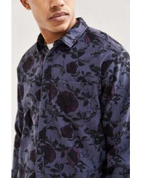 Urban Outfitters | Blue Uo Overdyed Floral Flannel Button-down Shirt for Men | Lyst
