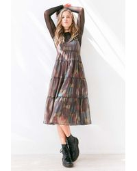 Ecote - Multicolor Alora Tiered Babydoll Midi Slip Dress - Lyst