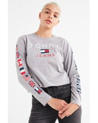 Tommy Hilfiger | Gray Tommy Jeans Long Sleeve Tee | Lyst