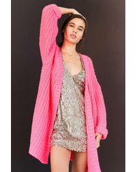 Silence + Noise | Pink Ally Neon Chunky Cardigan | Lyst