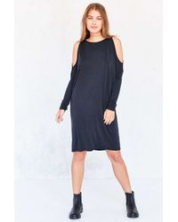 Silence + Noise | Black Cold Shoulder Cocoon Mini Dress | Lyst
