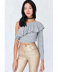 Silence + Noise   Gray Ashling Ruffle One Shoulder Top   Lyst