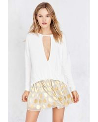 Silence + Noise | White Mia Plunging Cutout Surplice Top | Lyst