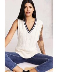BDG   White Oversized Cable-knit Sweater Vest   Lyst