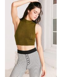 Out From Under | Green Shrunken Mock Neck Top | Lyst