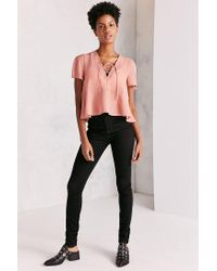 Kimchi Blue - Pink Lucy Lace-up Babydoll Blouse - Lyst