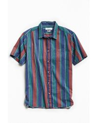Urban Outfitters | Blue Uo '90s Stripe Short Sleeve Button-down Shirt for Men | Lyst