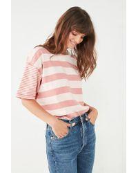 BDG - Pink Boston Oversized Striped Ringer Tee - Lyst