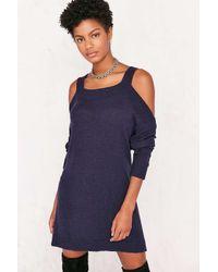 BDG | Blue Cold Shoulder Dolman Sweater Mini Dress | Lyst