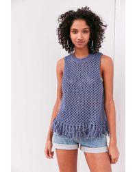 Ecote | Blue Sophie Fringe Crochet Tank Top | Lyst