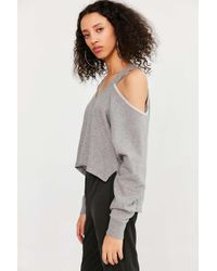 Silence + Noise | Gray Asymmetrical Cold-shoulder Top | Lyst
