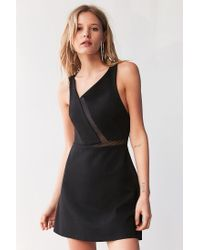 Silence + Noise | Black Misha Asymmetrical Ponte + Mesh Dress | Lyst