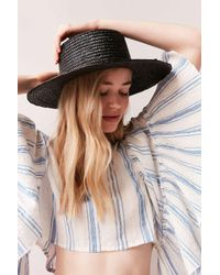 Urban Outfitters | Black Vanessa Straw Boater Hat | Lyst