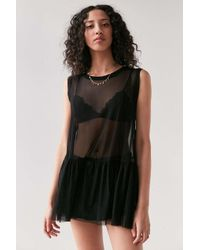 Truly Madly Deeply | Black Mesh Babydoll Tank Top | Lyst
