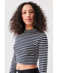 Silence + Noise | Blue Striped Cropped Turtleneck Sweater | Lyst