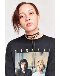 Urban Outfitters | Black Circle Vegan Leather Wrap Choker Necklace | Lyst