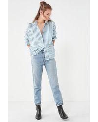 BDG - Blue Striped Twill Button-down Shirt - Lyst