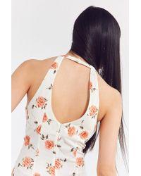 Motel - Natural Button-down Floral Femme Romper - Lyst