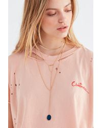 Urban Outfitters - Blue Snake Chain Druzy Pendant Necklace - Lyst