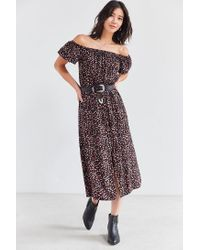 e186dcc4cfbe Kimchi Blue Off-the-shoulder Floral Midi Dress in Black - Lyst