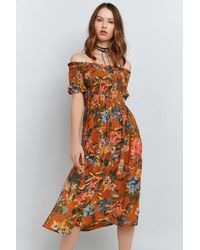 093fa99b0aff Kimchi Blue Picnic Printed Off-the-shoulder Midi Dress - Womens L in ...