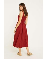 c606e2fe27 Urban Outfitters Uo Emilia Rust Button-through Midi Skirt - Womens L ...