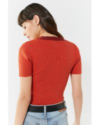 Urban Outfitters - Red Uo Ellis V-neck Short Sleeve Sweater - Lyst