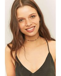 Urban Outfitters | Black Metallic Beaded Cord Choker Necklace | Lyst