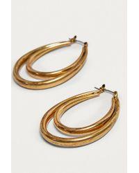 Urban Outfitters - Metallic Vintage Inspired Long Double Hoop Earrings - Lyst