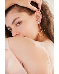Urban Outfitters - Metallic Billie Rhinestone Heart Drop Earring - Lyst
