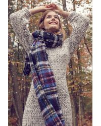 Urban Outfitters - Blue Fuzzy Plaid Scarf - Lyst