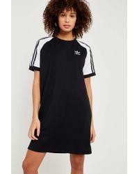 c1a9a046e8184e Adidas Originals - Black 3-stripe Raglan Sleeve T-shirt Dress - Womens Uk