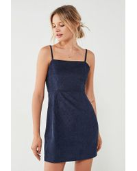 Urban Outfitters - Blue Urban Outfitters Corduroy Straight-neck Mini Dress - Lyst